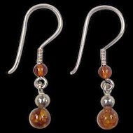 Vintage Sterling Silver Amber Bead Earrings