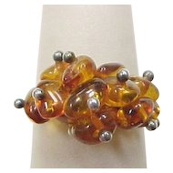 Vintage Sterling Silver Amber Bead Ring