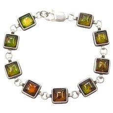 """7 1/2"""" Sterling Silver Amber Bracelet"""
