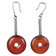 Vintage Sterling Silver Amber Disk Earrings