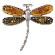 Vintage Sterling Silver Amber Dragonfly Pin / Brooch