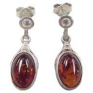 Vintage Sterling Silver Amber Earrings