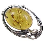 Vintage Sterling Silver Amber Pin / Brooch