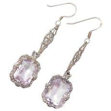 Art Deco Silver Dangle Earrings with Amethyst