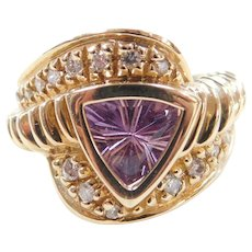 Vintage 14k Gold Wide 1.70 ctw Amethyst and Diamond Ring