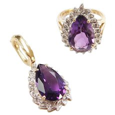 Vintage 14k Gold 10.20 ctw Amethyst and Diamond Enhancer Pendant and Ring ~ Set