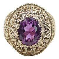 Vintage 14k Gold Amethyst Dome Ring