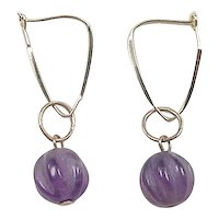 Vintage 14k Gold Carved Amethyst Bead Drop Earrings
