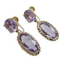Vintage 14k Gold 10.52 ctw Amethyst Earrings ~ Screw Backs