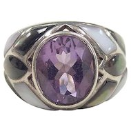 Vintage Sterling Silver Amethyst and Mother of Pearl Ring