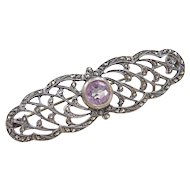Sterling Silver Amethyst and Marcasite Pin / Brooch