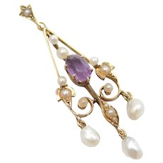 Victorian Amethyst, Seed and Freshwater Pearl Lavaliere 14k Gold Pendant