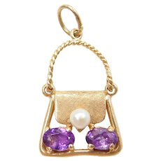14k Gold Amethyst and Seed Pearl Purse Charm