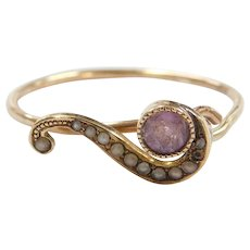 Edwardian 10k Gold Amethyst and Seed Pearl Swirl Ring ~ Converted Stick Pin