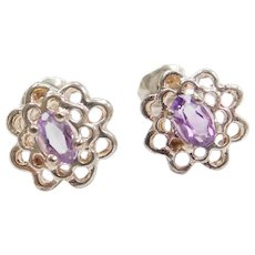 Sterling Silver Amethyst Stud Earrings Halo Floral Design