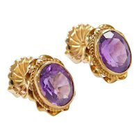 Vintage 14k Gold 4.72 ctw Amethyst Stud Earrings with Twisted Gold Halo