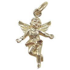 Vintage 14k Gold Open Arms Angel Charm