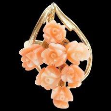 Vintage 14k Gold Angel Skin Coral Carved Flower Ring
