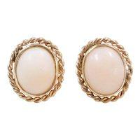 Vintage 14k Gold Angel Skin Coral Stud Earrings