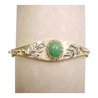 Apple Green Jade & Diamond 14k Two-Tone Gold Bangle Bracelet