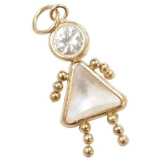 Vintage 14k Gold April Birthstone Girl Charm ~ Faux Diamonds