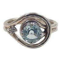 Vintage 14k White Gold 1 Carat Aquamarine and Diamond Ring