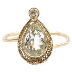 Edwardian 14k Gold 1.07 ctw Aquamarine and Diamond Ring ~ Converted Stick Pin