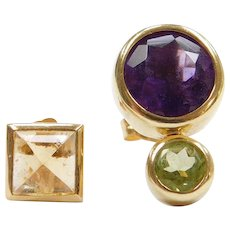 Artsy Mis-Matched Contemporary Stud Earrings 18k Gold ~ Amethyst, Peridot and Citrine