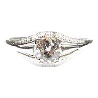 Art Deco Engagement Ring European Cut Diamond 0.40ct, 18k White Gold