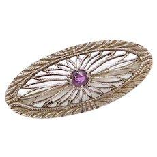 Art Deco Amethyst Pin / Brooch 14k White Gold