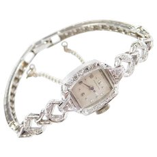 Art Deco 14k White Gold .60 ctw Diamond Hamilton Ladies Dress Watch ~ 6 3/8""