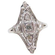 Platinum Art Deco Elongated .23 ctw Diamond Ring