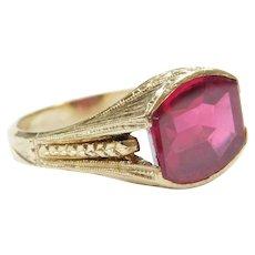 Art Deco 3.63 Carat Created Ruby Men's Ring 10k Gold