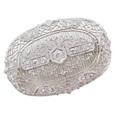 Art Deco 14k White Gold .55 ctw Diamond Pin / Brooch