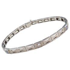 "Art Deco 18k Gold and Platinum .46 ctw Sapphire and Diamond Bracelet ~ 7 3/8"""