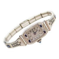 Art Deco Diamond and Faux Sapphire Filigree Watch 14k White Gold