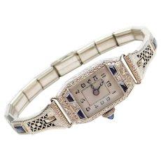 Art Deco Diamond and Faux Sapphire Filigree Watch 14k White Gold