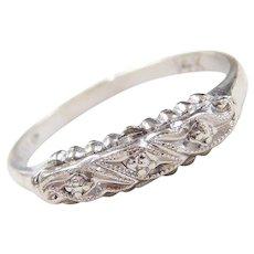 Art Deco 14k White Gold Wedding Band Ring
