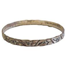 Sterling Silver Art Nouveau Leaf Bangle Bracelet