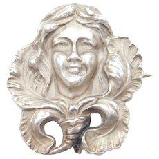 Art Nouveau Sterling Silver Lady Pin / Brooch
