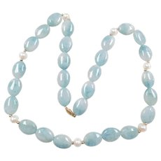 """Aventurine and Cultured Pearl Beaded Necklace with 14k Gold Clasp ~ 24"""""""