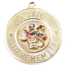 14k Gold A Date To Remember Charm with Flower and Colorful Glass Accents ~ Anniversary
