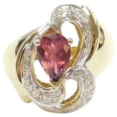 Pink Tourmaline and Diamond 1.37 ctw Funky Freeform Ring 14k Gold Two-Tone