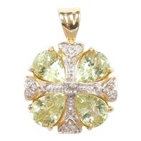 Natural Chrysoberyl and White Topaz 3.531 ctw Pendant 14k Gold Two-Tone