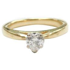 Heart Cut Diamond .47 Carat Solitaire Engagement Ring 14k Gold