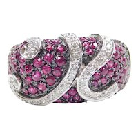 Wide Ruby and Diamond 1.42 ctw Swirl Band Ring 18k White Gold