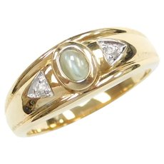 Gents Natural Cat's Eye Alexandrite and White Sapphire .321 ctw Ring ~ Men's