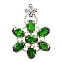 Natural Diopside and Diamond 3.384 ctw Pendant 14k Gold Two-Tone
