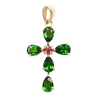 Natural Diopside and Sunset Sapphire 2.028 ctw Religious Cross Pendant 14k Gold