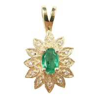 Natural Emerald and Diamond .28 ctw Halo Pendant 14k Gold